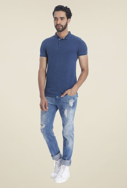 Jack & Jones Dark Blue Solid T Shirt