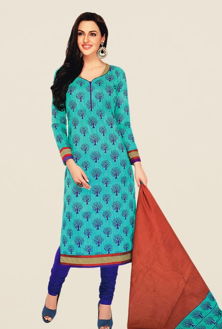 Salwar Studio Turquoise & Blue Floral Print Dress Material