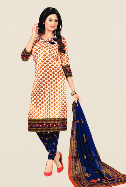 Salwar Studio White & Blue Floral Print Dress Material