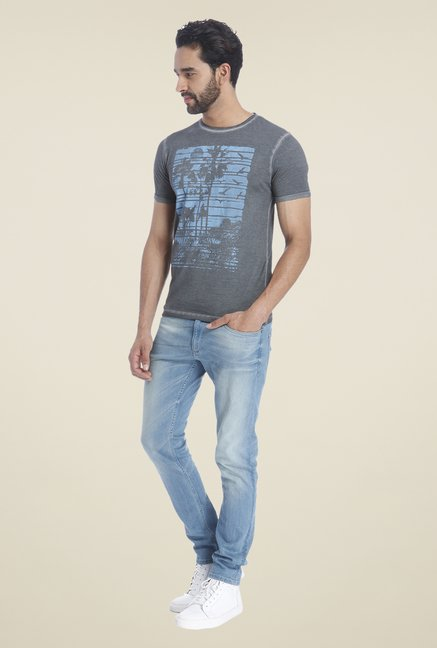 Jack & Jones Grey Graphic Print Crew Neck T Shirt