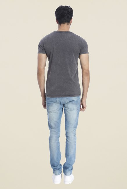 Jack & Jones Grey Graphic Print Short Sleeves T Shirt