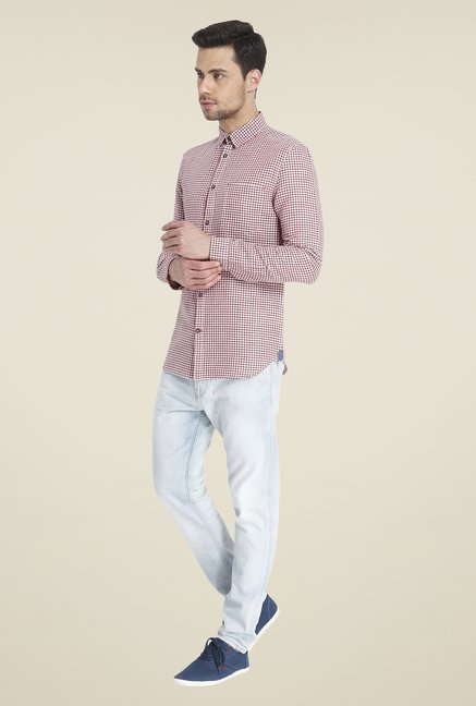Jack & Jones Maroon Linen Shirt