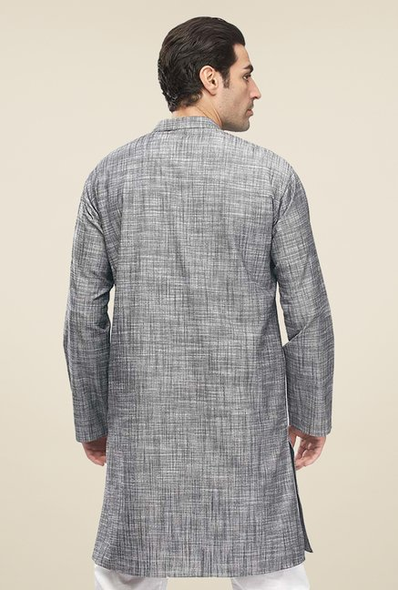 Manyavar Grey Textured Kurta