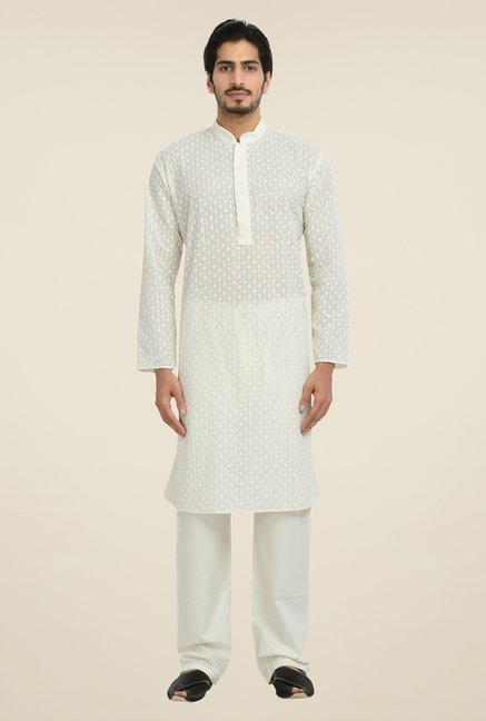 Manyavar White Self Print Kurta & Pyjama Set