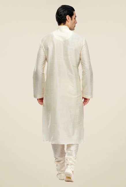 Manyavar Cream Striped Kurta & Chudidar Set