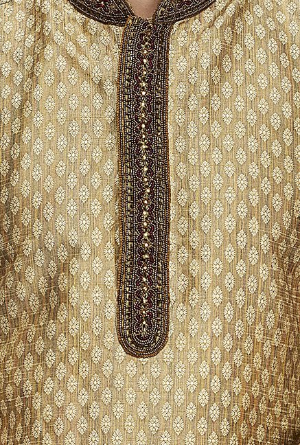 Manyavar Brown Printed Kurta & Chudidar Set