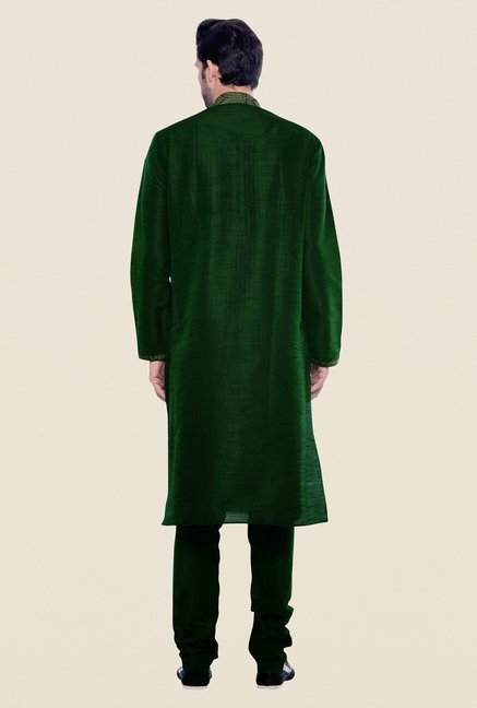 Manyavar Green Striped Kurta & Chudidar Set