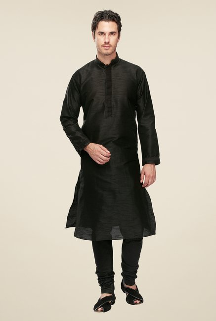 Manyavar Black Textured Kurta & Chudidar Set