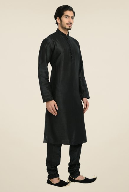 Manyavar Black Striped Kurta & Chudidar Set