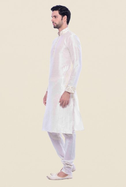 Manyavar Cream Textured Kurta & Chudidar Set