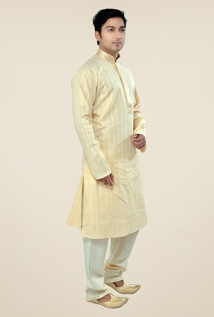 Manyavar Beige Striped Kurta & Pyjama Set