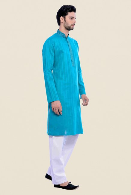 Manyavar Blue Striped Kurta & Pyjama Set