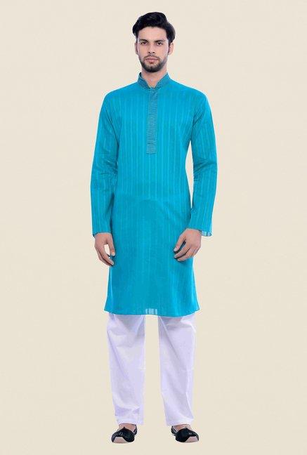 new concept 67700 617e8 Buy Manyavar Blue Striped Kurta & Pyjama Set For Men Online At Tata CLiQ