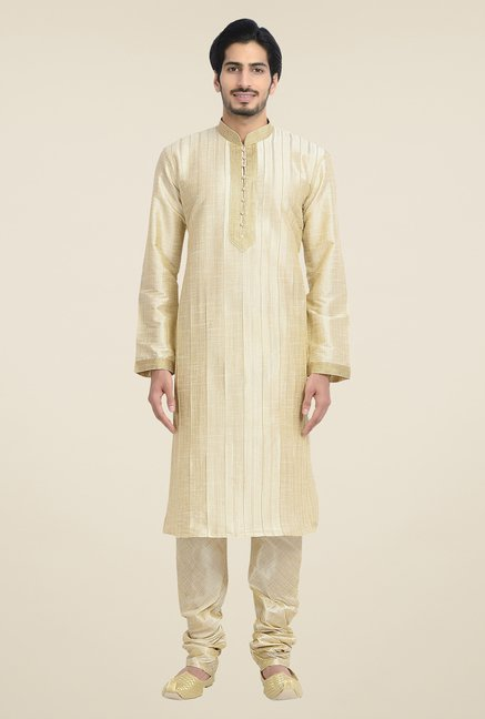 Manyavar Beige Striped Kurta & Chudidar Set