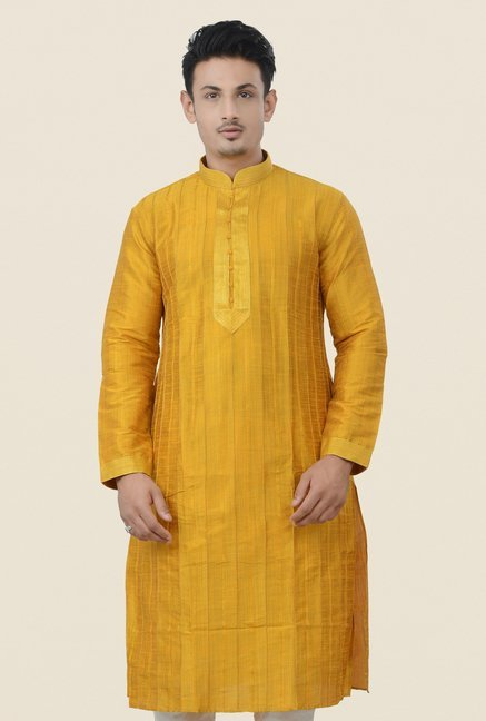 Manyavar Mustard Striped Kurta & Chudidar Set