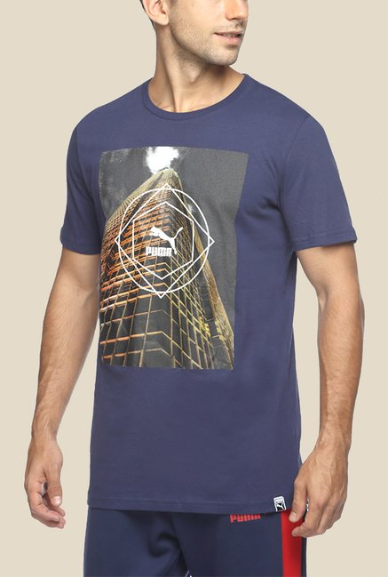 Puma Navy Graphic T Shirt
