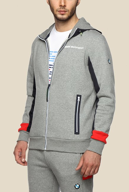 Puma BMW MSP Yesed Grey Solid Hoodie
