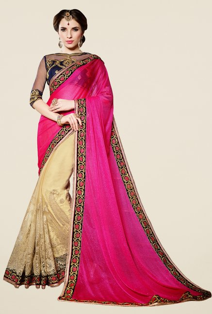 Triveni Cream & Pink Embroidered Shimmer Lycra Net Saree