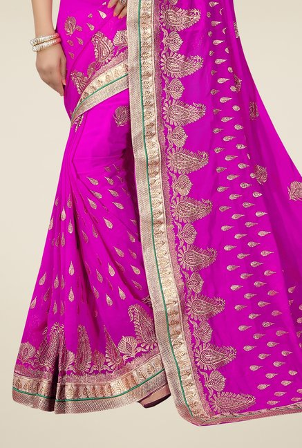 Triveni Magenta Embroidered Faux Georgette Saree