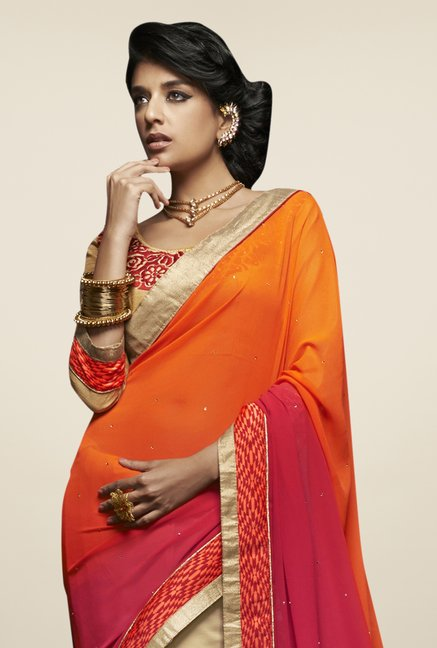 Triveni Cream & Orange Embroidered Faux Georgette Saree