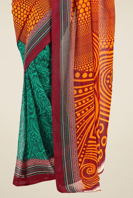 Triveni Green & Mustard Printed Faux Georgette Saree