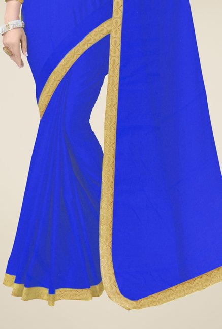 Triveni Blue Solid Faux Georgette Saree