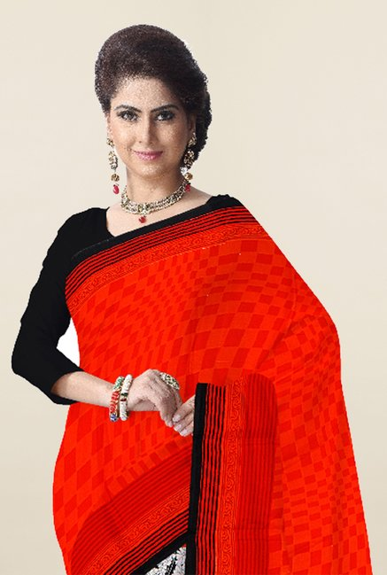 Triveni Off White & Orange Printed Crape Dry Clean Saree