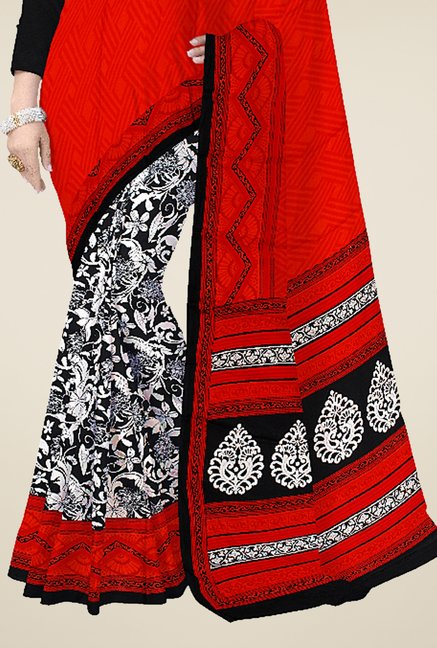 Triveni Off White & Orange Printed Crape Saree