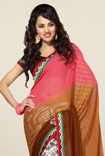 Triveni Multicolor Printed Faux Georgette Dry Clean Saree