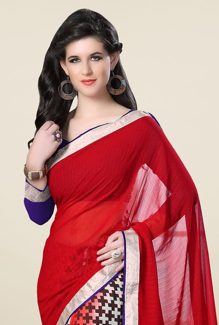 Triveni Multicolor Printed Faux Georgette Free Size Saree