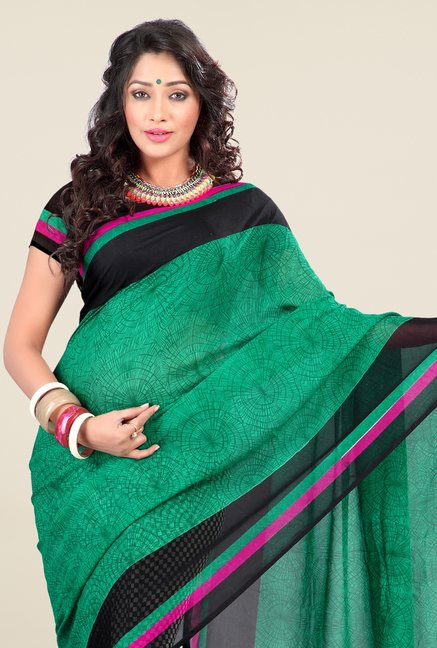 Triveni Multicolor Floral Faux Georgette Dry Clean Saree