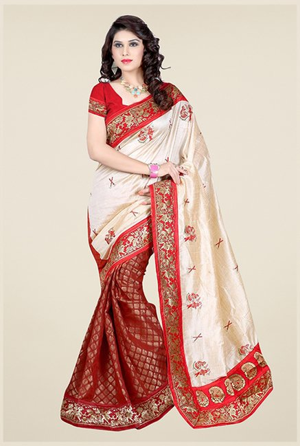 Triveni Maroon & Beige Printed Art Silk Viscose Saree