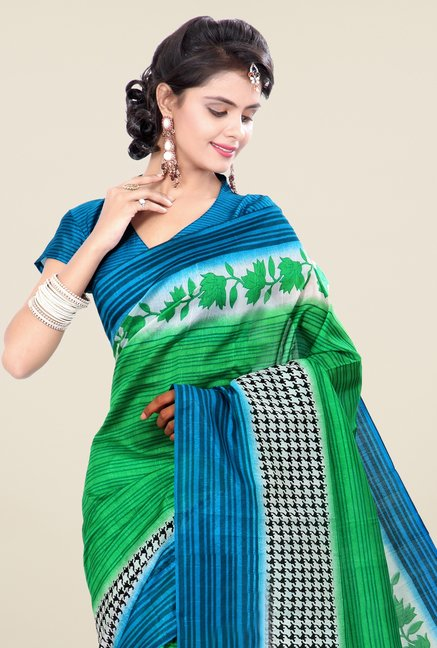 Triveni Green & Blue Printed Art Silk Saree