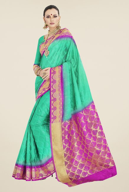 Triveni Green Printed Banarasi Silk Saree