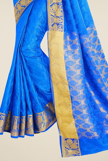 Triveni Blue Printed Banarasi Silk Saree