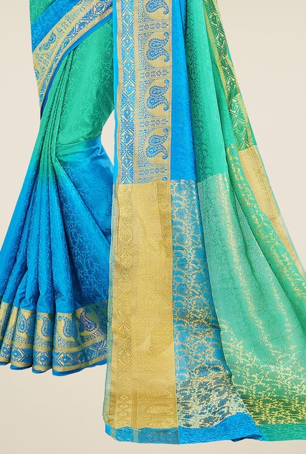Triveni Green & Blue Printed Banarasi Silk Saree