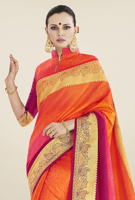 Triveni Multicolor Printed Banarasi Silk Saree