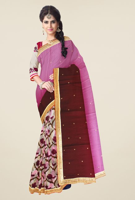 Triveni Multicolor Embroidered Chiffon Georgette Saree