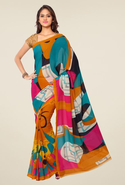 Triveni Multicolor Faux Georgette Saree