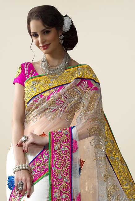 Triveni White Embroidered Net Saree