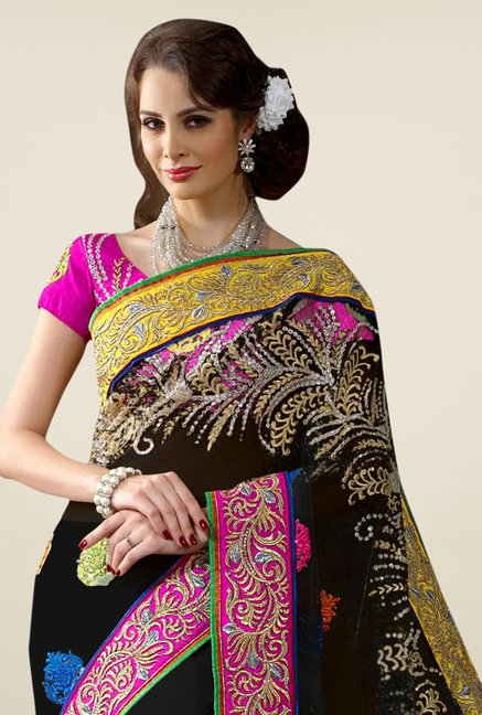 Triveni Black Embroidered Net Saree