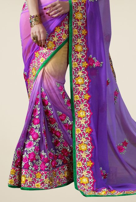 Triveni Violet Embroidered Faux Georgette Viscose Saree