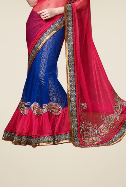 Triveni Blue & Pink Embroidered Net Lehenga Saree