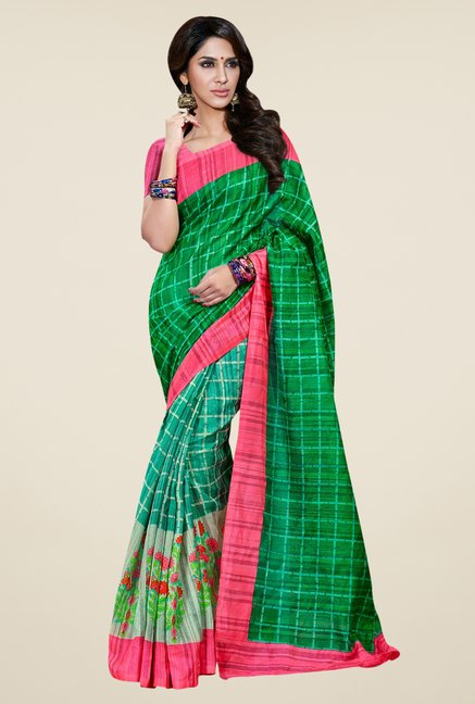 Triveni Green Printed Bhagalpuri Silk Saree