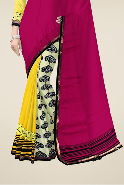 Triveni Multicolor Printed Faux Georgette Ethnic Saree