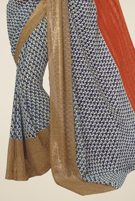 Triveni Multicolor Faux Georgette Printed Saree