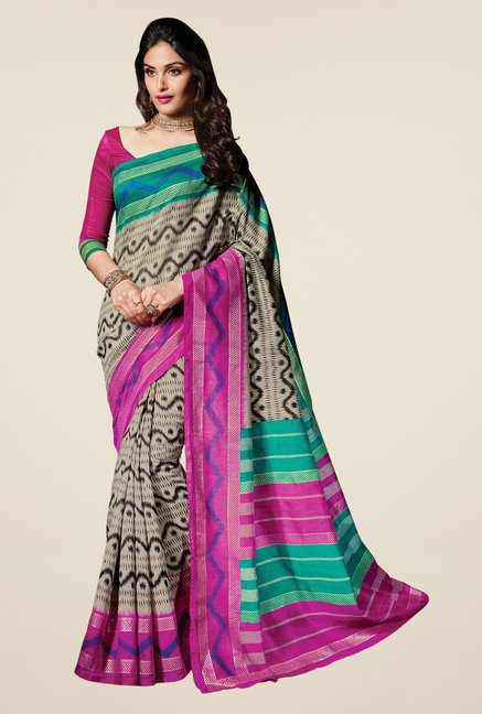Triveni Multicolor Bhagalpuri Silk Printed Saree