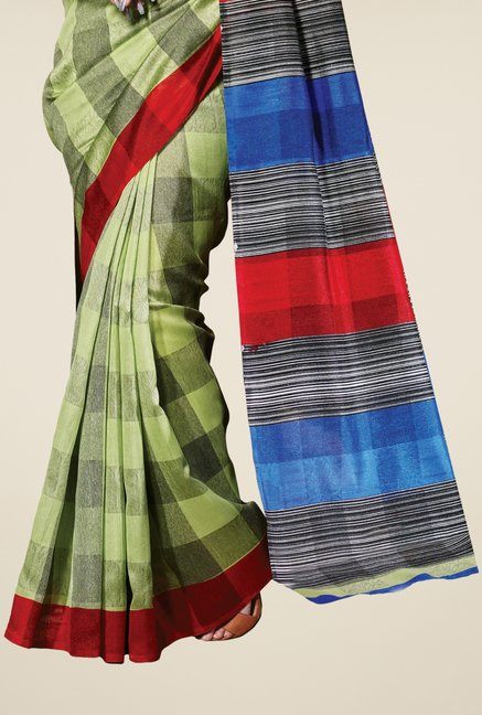 Triveni Green Checks Bhagalpuri Silk Saree