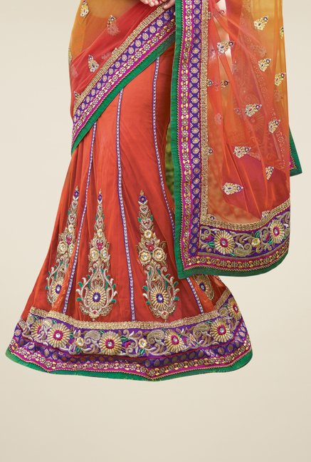 Triveni Orange Embroidered Net Lehenga Saree
