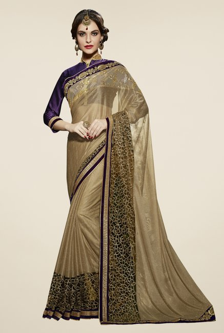 Triveni Beige Embroidered Lycra Brasso Net Saree
